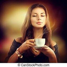 formál, kávécserje, szépség, csésze, tea, leány, vagy