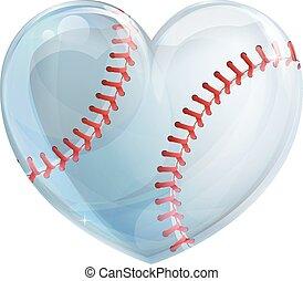 formé, base-ball, coeur