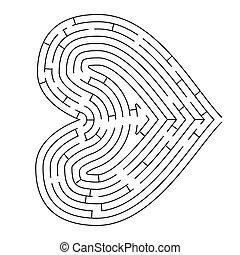 formé, blanc, silhouette, compliqué, coeur, noir, labyrinthe
