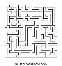 formé, blanc, silhouette, compliqué, noir, carrée, labyrinthe