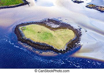 formé, coeur, donegal, côte, portnoo, île, -, comté, entre, lettermacaward, ireland.