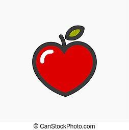 formé, coeur, pomme, icon.