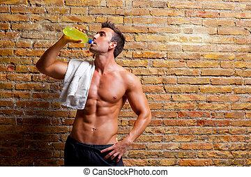 formé, gymnase, boire, muscle, décontracté, homme