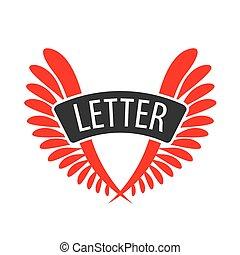 form, abstrakt, vektor, brief, v, logo, flügeln