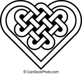 form, hjärta, knyta, keltisk