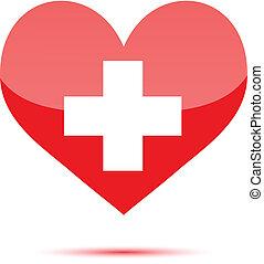 form, hjärta, medicinsk, kors, röd