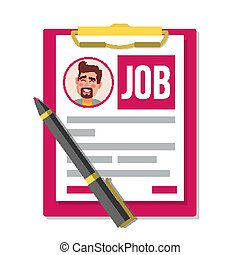 Form Job Application Vector. Business Document. Resume, Career. HR Human Resources Concept. Male Profile Photo. Pen. Top View. Hiring Employees. Flat Cartoon Illustration