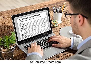 form, laptop, anwendung, füllung, geschäftsmann, anstellung