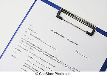 Form letter of intent land acquisition