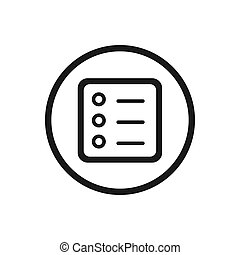 Form line icon with a circle on a white background