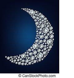 form, måne, uppe, diamant, gjord, lott