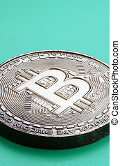 form, produkt, physisch, plastik, kakau, modell, crypto, währung, hintergrund., essbare , bitcoin, grün, lies