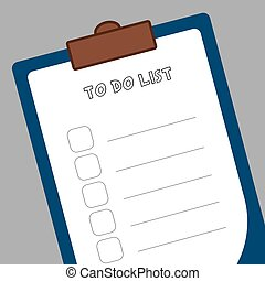 Form to-do list, a tablet of white paper to make notes