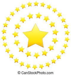 formação, estrelas, circular