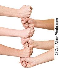 formação, mãos