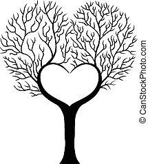 forma, árvore, hea, ramo, caricatura