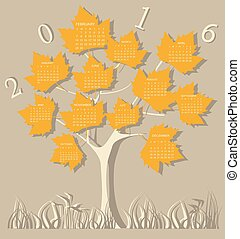forma, 2016, árbol, calendario