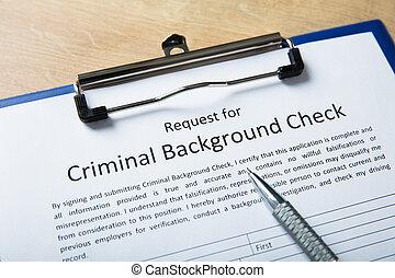 forma, aplicação, caneta, fundo, criminal, cheque