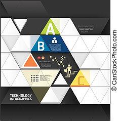 forma astratta, infographic, disegno, tecnologia, stile, disposizione, /, sagoma, infographics, disinserimento, minimo, sito web, essere, usato, triangolo, orizzontale, numerato, grafico, linee, vettore, lattina, bandiere, o