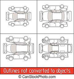 forma, automobile, conditon, suv, pickup, veicolo, bussola, ispezione, assegno, hatchback