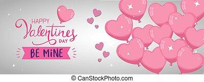 forma, balões, coração, hélio, feliz, dia, valentines