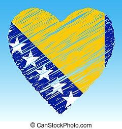 forma, bandera, style., herzegovina, corazón, grunge, bosnia