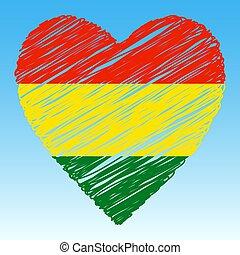 forma, bandiera, style., cuore, bolivia, grunge