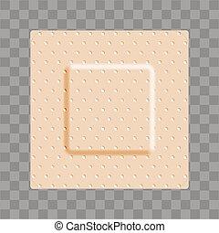 forma, beige, bandaid, venda, cuadrado, adhesivo