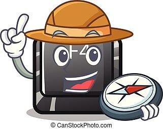 forma, botón, f4, explorador, caricatura