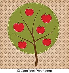 forma, círculo, árbol, manzana