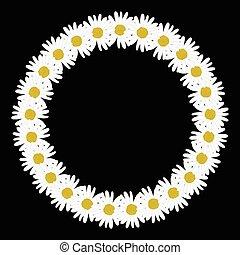 forma, círculo, cadena, margarita