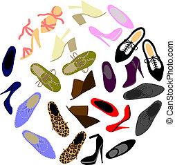 forma, círculo, shoes