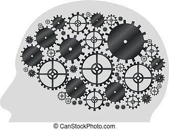 forma, cabeça, cogwheel