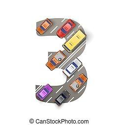 forma, carros, número, ilustração, three., vetorial, estrada