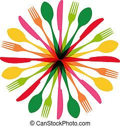 forma, cerchio, illustrazione, coltelleria