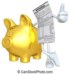 forma, cerdito, oro, 401k, banco