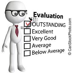 forma, cheque, caricatura, director, informe, evaluación, ...
