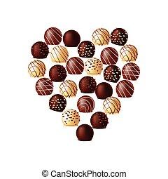 forma, chocolates, coração