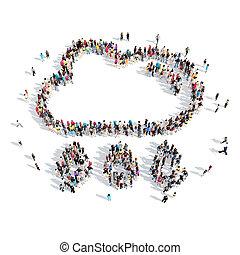 forma, clouds., pessoas