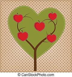 forma coração, árvore, maçã