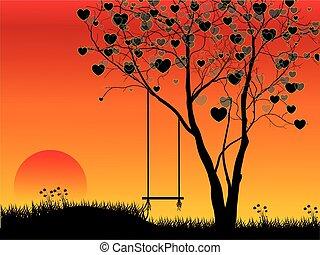 forma coração, árvore, pôr do sol, fundo