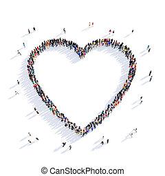 forma coração, 3d, pessoas, amante