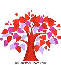 forma coração, amor, folheia, árvore