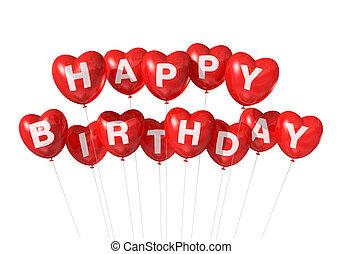 forma coração, aniversário, balões, vermelho, feliz