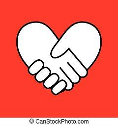 forma, coração, aperto mão