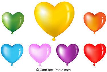 forma coração, balões, coloridos