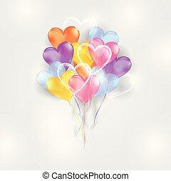 forma coração, balões, fundo, coloridos