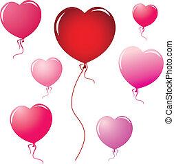forma coração, balões