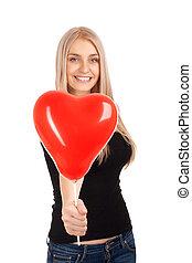 forma, coração, balloon, mulher, jovem