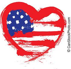 forma coração, bandeira americana